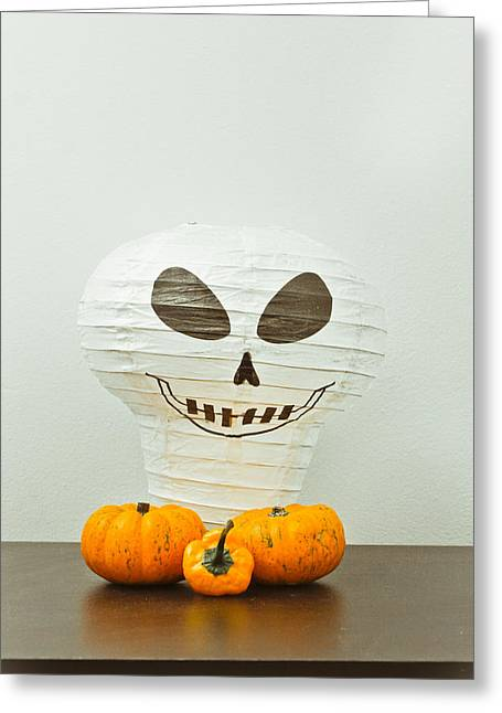 Orange Pumpkin Greeting Cards - Halloween still life Greeting Card by Tom Gowanlock