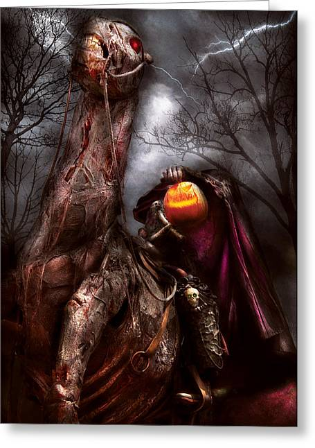 Hallows Eve Greeting Cards - Halloween - The Headless Horseman Greeting Card by Mike Savad