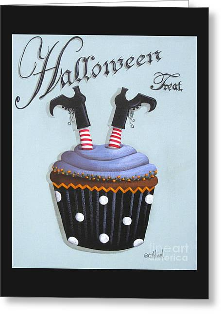 Halloween Folk Art Greeting Cards - Halloween Treat Witch Cupcake Greeting Card by Catherine Holman