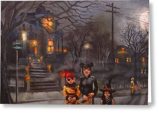 Haunted House Paintings Greeting Cards - Halloween Trick or Treat Greeting Card by Tom Shropshire