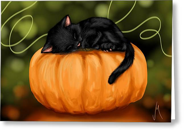 Digital Finger Greeting Cards - Halloween Greeting Card by Veronica Minozzi