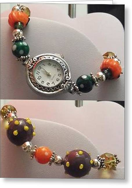 Dot Jewelry Greeting Cards - Halloween Watch Greeting Card by Kimberly Johnson