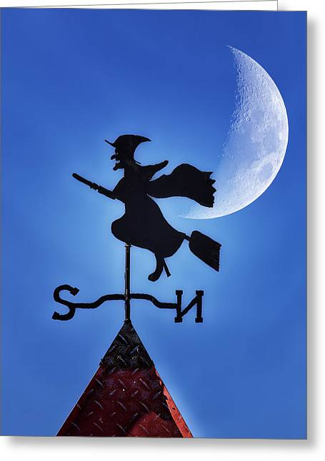 Weathervane Digital Art Greeting Cards - Halloween Weather Greeting Card by Bill Tiepelman