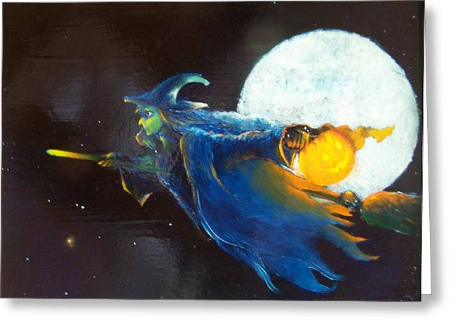 Fairy Painter Greeting Cards - Halloween Witch Greeting Card by Dan Smart