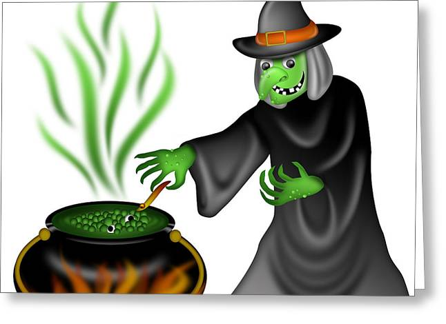 Green Swirl Hat Greeting Cards - Halloween Witch Illustration Greeting Card by David Gn