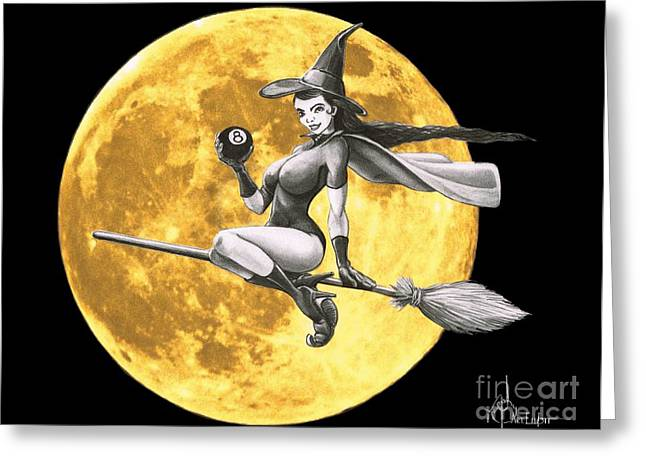 Flying Witch Greeting Cards - Halloween Witch pin up Greeting Card by Murphy Elliott