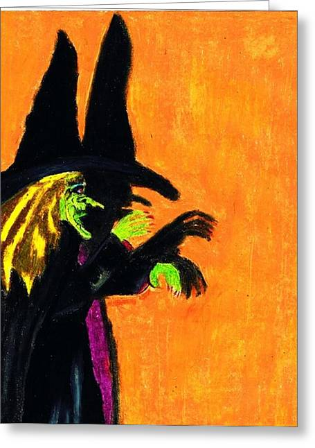 Monster Pastels Greeting Cards - Halloween Witches Shadow Greeting Card by Jo-Ann Hayden