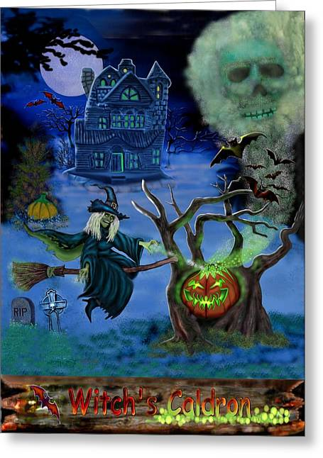 Haunted House Greeting Card Greeting Cards - Halloween Witchs Coldron Greeting Card by Glenn Holbrook