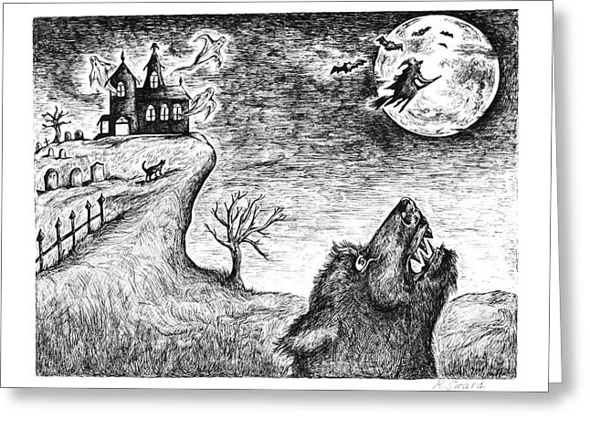 Black Cat Hills Greeting Cards - Hallows Eve Greeting Card by Karen Sirard
