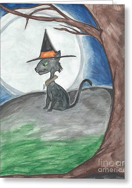 Witch Halloween Cat Wicca Greeting Cards - Hallows Guard  Greeting Card by Priscilla Hale