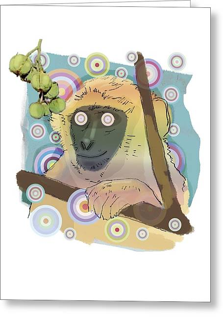 Euphorbiaceae Greeting Cards - Hallucinating monkey, artwork Greeting Card by Science Photo Library