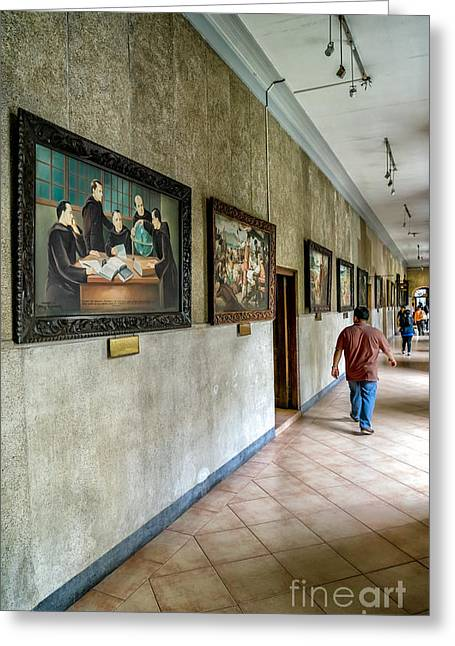 Basilica Greeting Cards - Hallway of Paintings Greeting Card by Adrian Evans