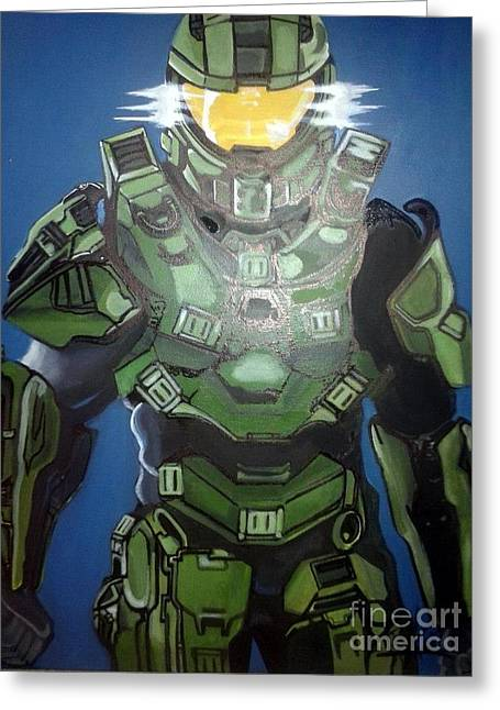 Microsoft. Paintings Greeting Cards - Halo Master Chief Greeting Card by Jin Kai