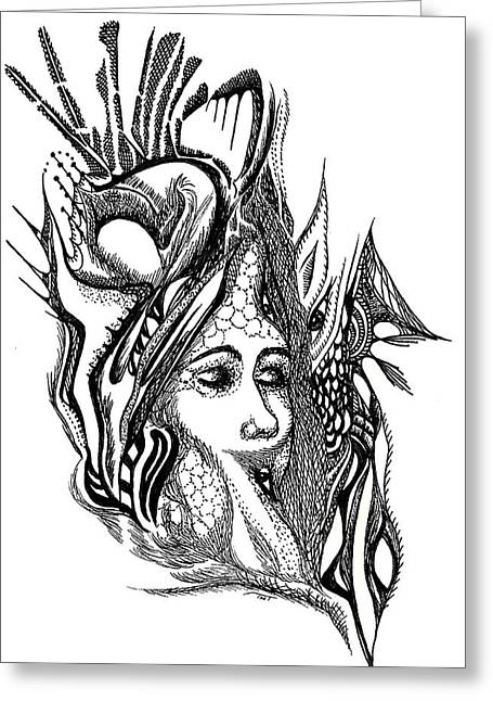 Organic Drawings Greeting Cards - Halo Greeting Card by Teresa Young