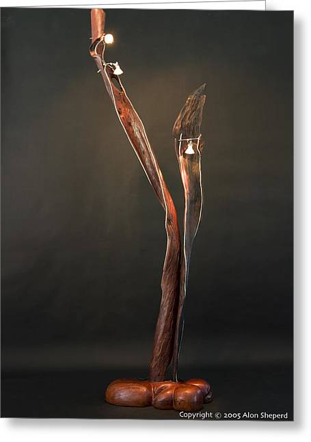 Recycled Sculptures Sculptures Greeting Cards - Halogen Lamp Greeting Card by Alon Shepherd