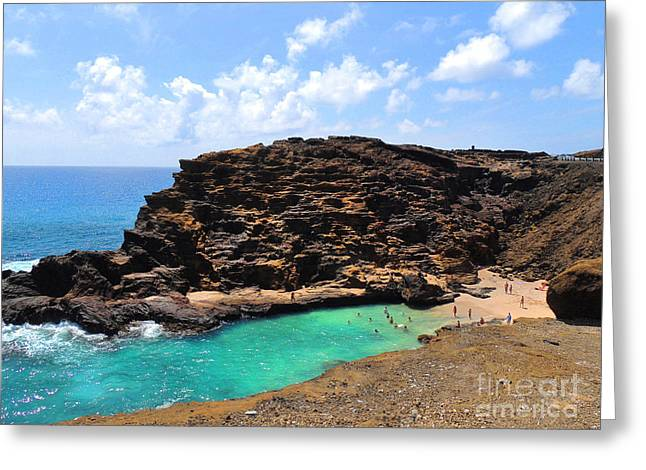 Halona Greeting Cards - Halona Beach Cove Greeting Card by Kristine Merc