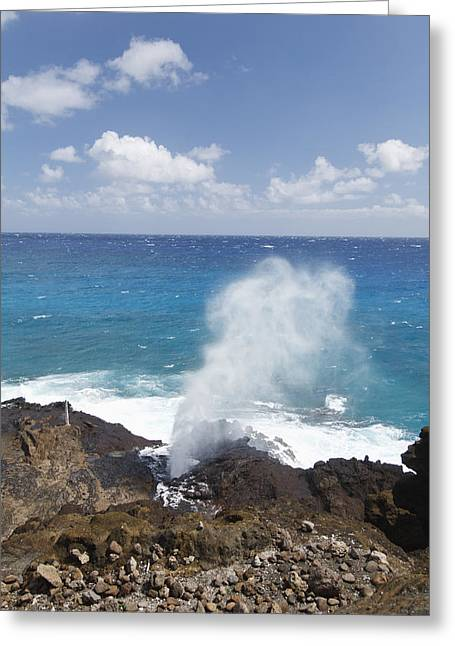 Halona Greeting Cards - Halona Blowhole Greeting Card by Brandon Tabiolo