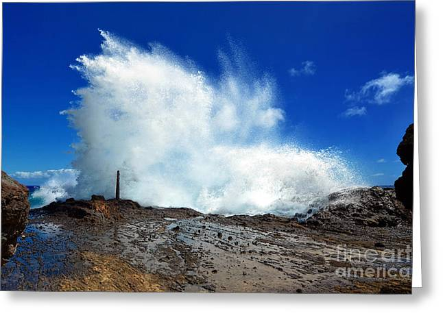 Halona Greeting Cards - Halona Blowhole Crashing Wave Greeting Card by Eric Evans