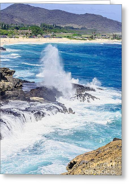 Halona Greeting Cards - Halona Blowhole Huge Geyser Greeting Card by Eric Evans