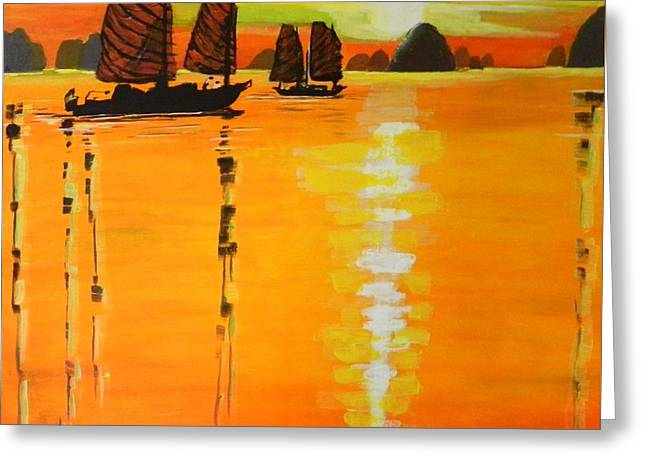 Recently Sold -  - Boats On Water Greeting Cards - Halong Bay  Greeting Card by Jolanta Shiloni