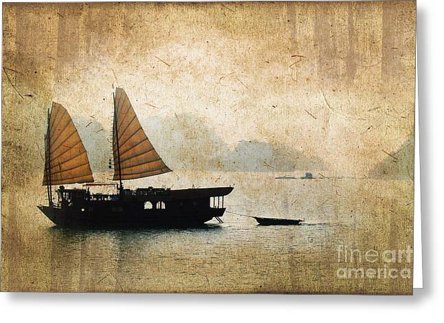 Halong Bay Vintage Greeting Card by Delphimages Photo Creations