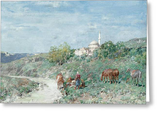 Halt Outside A Turkish Hill Town Greeting Card by Celestial Images