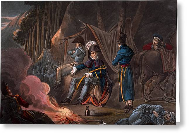 Campfire Greeting Cards - Halting In The Pyrenees In July 1813 Greeting Card by William Heath