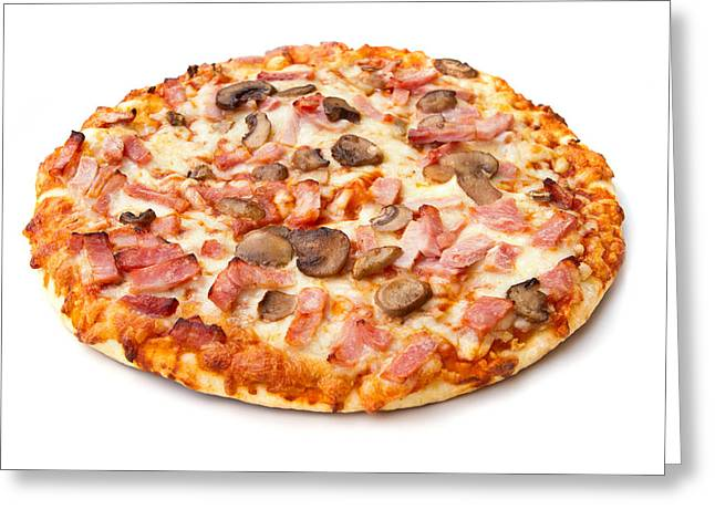Italian Meal Greeting Cards - Ham And Mushroom Pizza On White Greeting Card by Fizzy Image