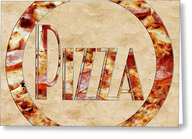 Italian Kitchen Greeting Cards - Ham Pizza Typography Square 2 Greeting Card by Andee Design