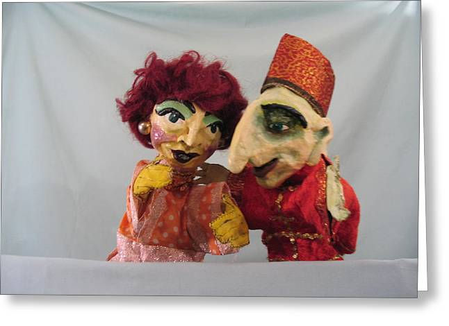 Purim Greeting Cards - Haman and Wife Greeting Card by Joan Glinert