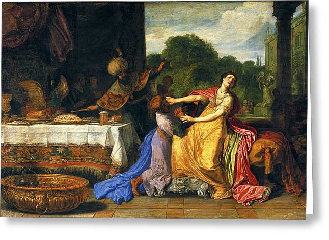 Esther Greeting Cards - Haman begging Esther for mercy Greeting Card by Pieter Lastman