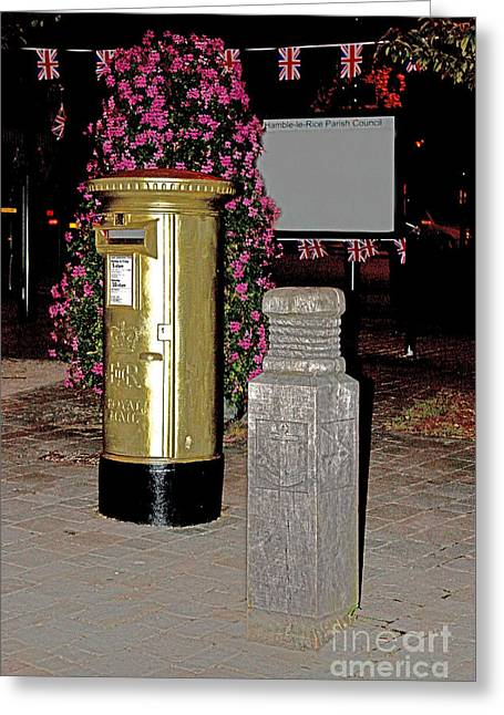 Pillar Box Greeting Cards - Hamble Gold Post Box for Dani King Greeting Card by Terri  Waters