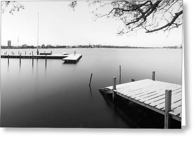 Landing Stage Greeting Cards - Hamburg Alster in winter Greeting Card by Marc Huebner