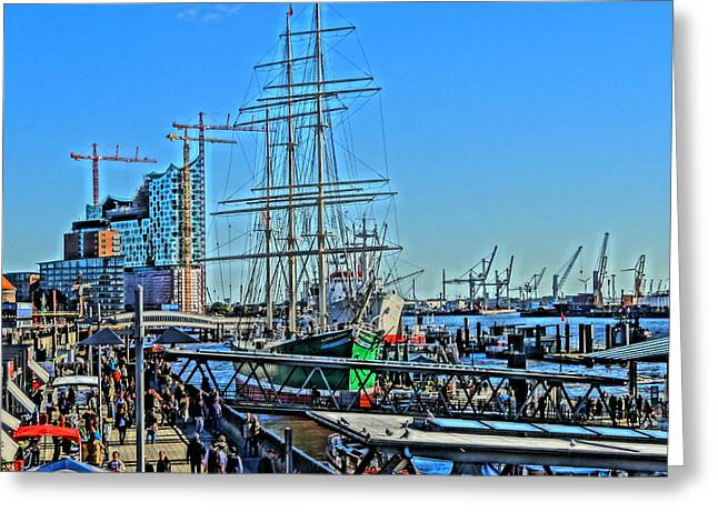Sailboat Photos Paintings Greeting Cards - Hamburg Germany Sail Boat with Elbphilharmonie Greeting Card by M Bleichner
