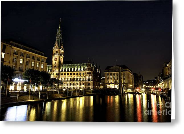 Deutschland Greeting Cards - Hamburg Rathaus Colors Greeting Card by John Rizzuto