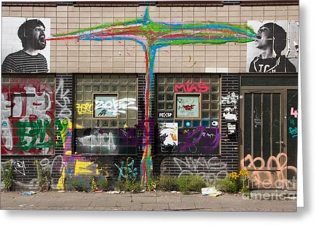 Individualistic Greeting Cards - Hamburg Schanzenviertel Facade Greeting Card by Jannis Werner