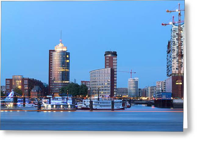 Hamburg Skyline Greeting Card by Marc Huebner
