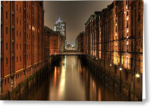Hamburg Speicherstadt Bei Nacht Greeting Card by George Inness