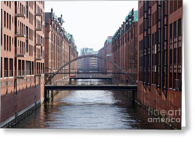 Htc Greeting Cards - Hamburg Speicherstadt Canal Greeting Card by Jannis Werner