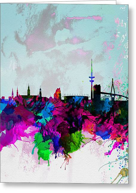 Recently Sold -  - Scenic Greeting Cards - Hamburg Watercolor Skyline Greeting Card by Naxart Studio