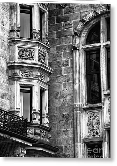Angled Windows Greeting Cards - Hamburg Window Angles Greeting Card by John Rizzuto