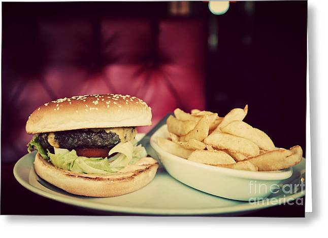 Fries Greeting Cards - Hamburger and french fries plate in american food restaurant Greeting Card by Michal Bednarek