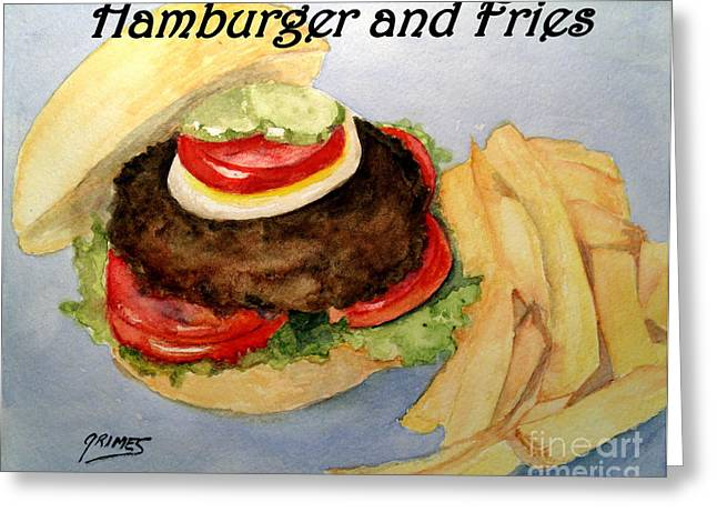 French Fries Paintings Greeting Cards - Hamburger and Fries Greeting Card by Carol Grimes