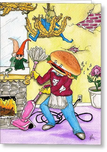 Hamburger Drawings Greeting Cards - Hamburger Helper Greeting Card by Julie McDoniel