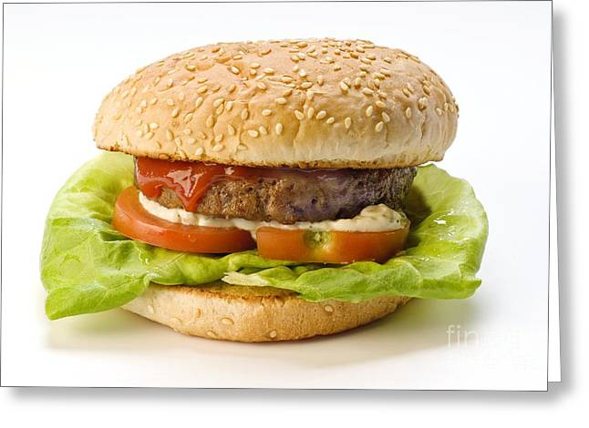 Red Meat Greeting Cards - Hamburger Greeting Card by Martyn F. Chillmaid