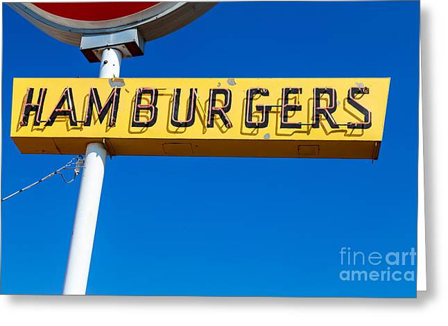 Yellowstone Greeting Cards - Hamburgers Old Neon Sign Greeting Card by Edward Fielding