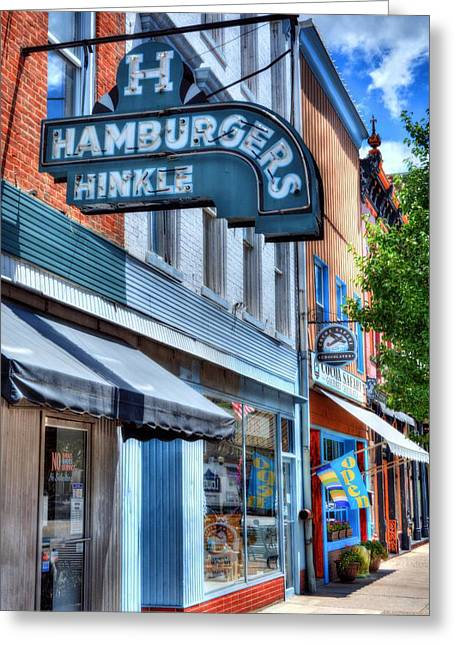 Main Street Greeting Cards - Hamburgers In Indiana Greeting Card by Mel Steinhauer