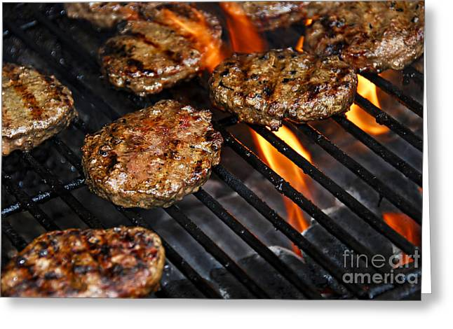 Prepared Greeting Cards - Hamburgers on barbeque Greeting Card by Elena Elisseeva