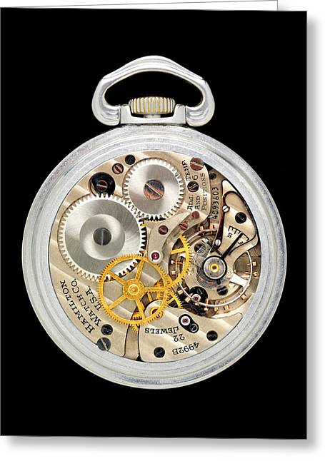 Cogs Greeting Cards - Vintage aviator pocket watch Greeting Card by Jim Hughes