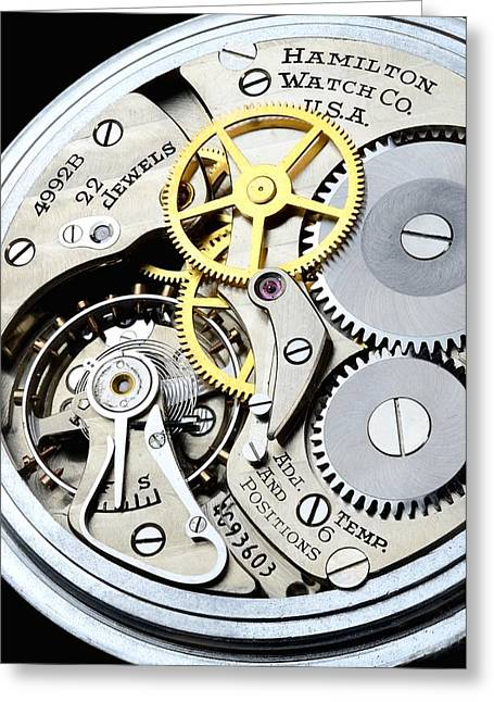 Best Sellers -  - Mechanism Photographs Greeting Cards - Vintage Pocket Watch Greeting Card by Jim Hughes